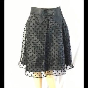 ELLE Flocked Dot A Line Skirt Brand New